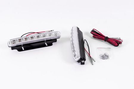 LED Tagfahrlicht Set, Universal, je 8 High Power LEDs, Xenon Weiss,