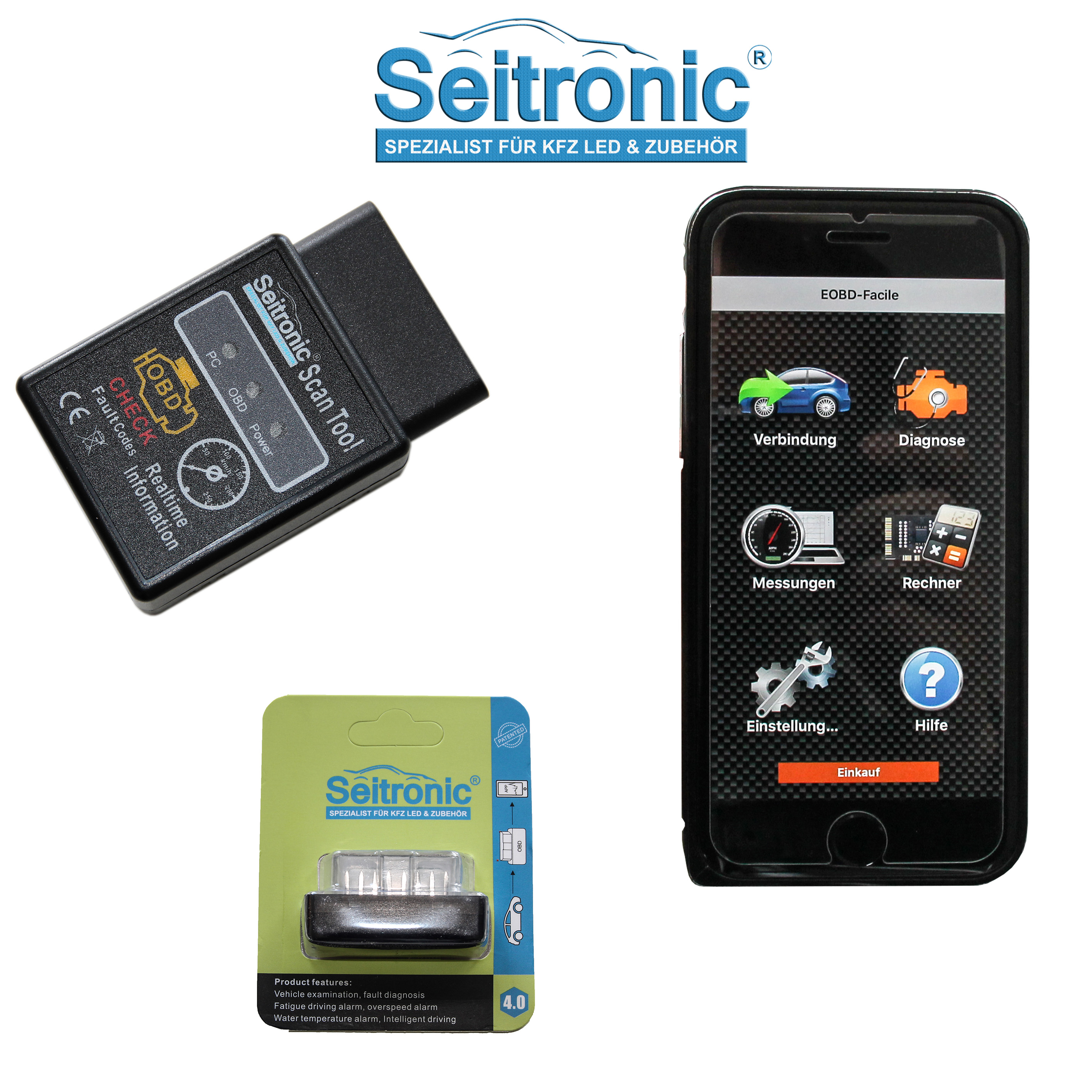 seitronic obd2 kfz auto diagnoseger t mit bluetooth f r. Black Bedroom Furniture Sets. Home Design Ideas